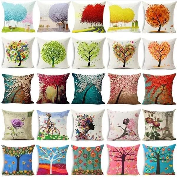 romantic line square pillowcases wishing tree print cushion cover decorative pillow covers home decoration sofa cushions car throw pillows wish