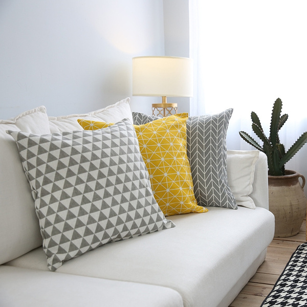 modern sofa cushion cover yellow grey cotton linen decorative throw pillow cover plaid geometry printed bedding home decor wish