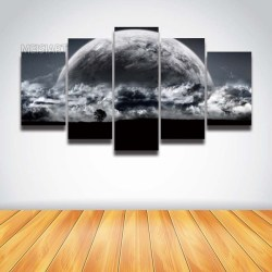 No Frame 5 Panel Canvas Wall Art Moon Planet Fantasy Sky Landscape Painting HD Prints Modular Picture for Home Decoration Living Room Wish