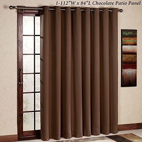 rhf thermal insulated blackout patio door curtain panel sliding door curtains wide curtains 100w by 84l inches chocolate wish