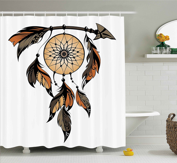 ethnic shower curtain by ambesonne native american dreamcatcher tribal spiritual feathers image fabric bathroom decor set with hooks wish