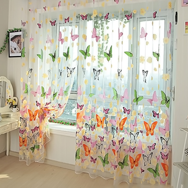 butterfly print voile sheer curtains wall door window balcony curtain room divider rideau cortina for living room bedroom wish