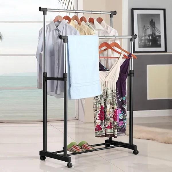 adjustable rolling clothes rack single double bar hanging garment hanger space saving wish