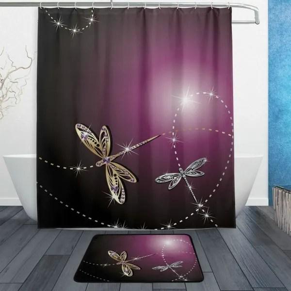 shiny dragonfly shower curtain elegant purple background waterproof fabric bathroom curtain with hooks wish