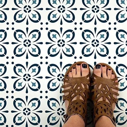 starvos tile stencil reusable floor backsplash mediterranean tile stencils for home decor furniture and walls 12 x12 wish