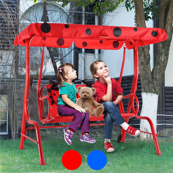 kids patio swing chair children porch bench canopy 2 person yard furniture red wish