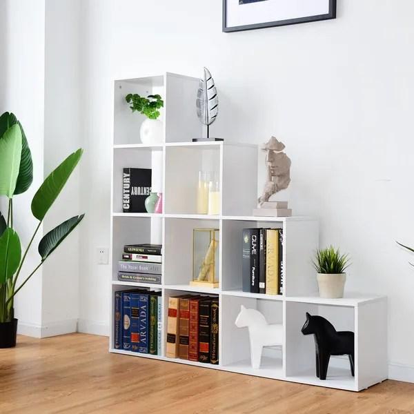 etagere escalier 10 cases en bois meuble de rangement 131 5 131 5 27 5cm wish