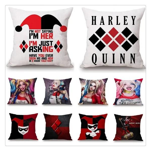 harley quinn and joker pillowcase home decor suicide squad cushion cover sofa throw pillowcase bedroom pillow covers cartoon harley quinn throw