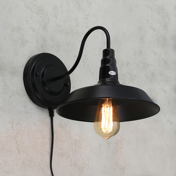 black retro wall sconce lighting indoor hanging bed lamp gooseneck wall light fixture plug in cord with on off switch e26 e27 for farmhouse bedroom