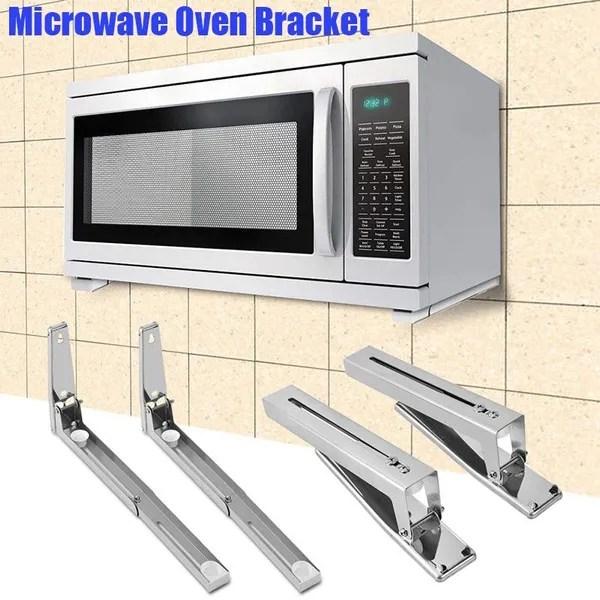 2x microwave oven brackets adjustable wall mount shelf carbon steel cradle wish