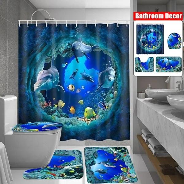 blue ocean deep sea dolphin waterproof bathroom shower curtain non slip rug set pedestal rug lid toilet cover bath mat shower curtains for bathroom