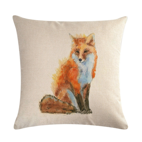 fox pillow cover fox throw pillow animal animal lover wish