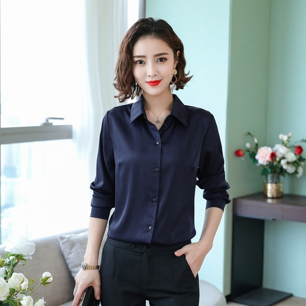 Women Ladies Imitated Silk Satin Shirt Long Sleeve Business Formal Tops Blouse Loose Elegant Wish