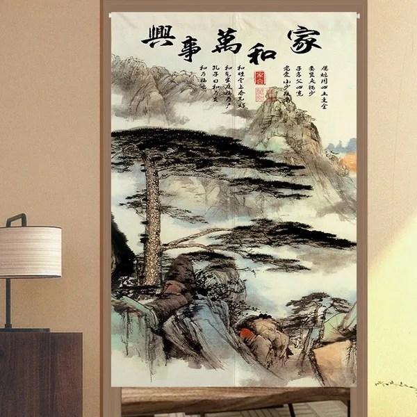 chinese door curtain ink landscape doorway divider feng shui tapestry art vintage wish