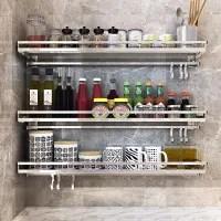 Wall Mount Stainless Steel Kitchen Shelf Type Free Punching Wall Storage Pendant Seasoning Seasoning Rack Wish