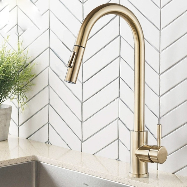 brushed gold kitchen faucet pull out stainless steel kitchen sink water tap single handle mixer tap 360 rotation kitchen shower faucet wish