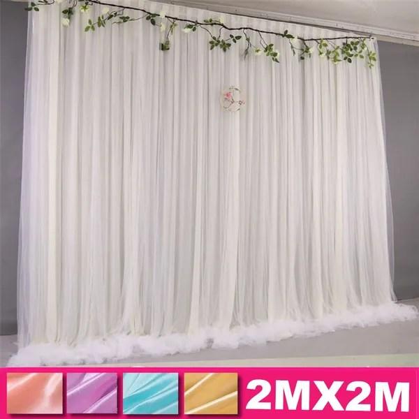 2x2m wedding party fashion backdrop curtain background decoration white gauze net wish