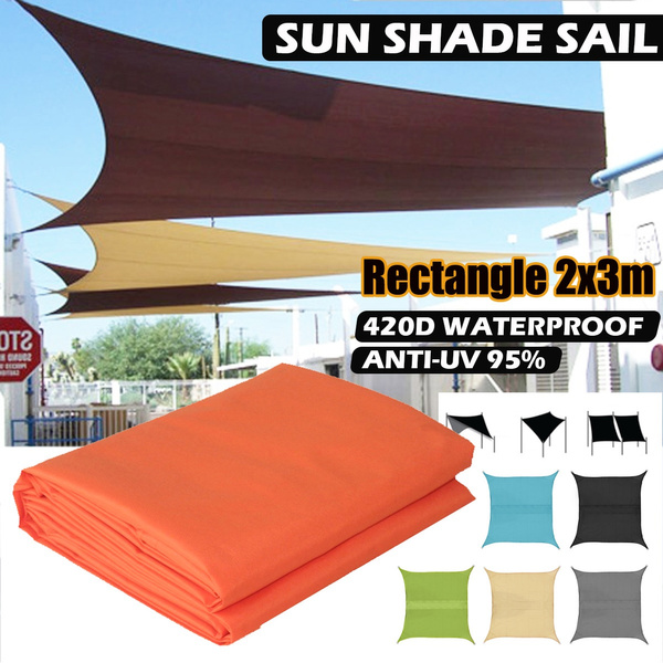 anti uv sun shade sail swimming pool awning canopy sunscreen rainfly tarp cover outdoor rectangle 2x3m for yard patio party garden 420d oxford