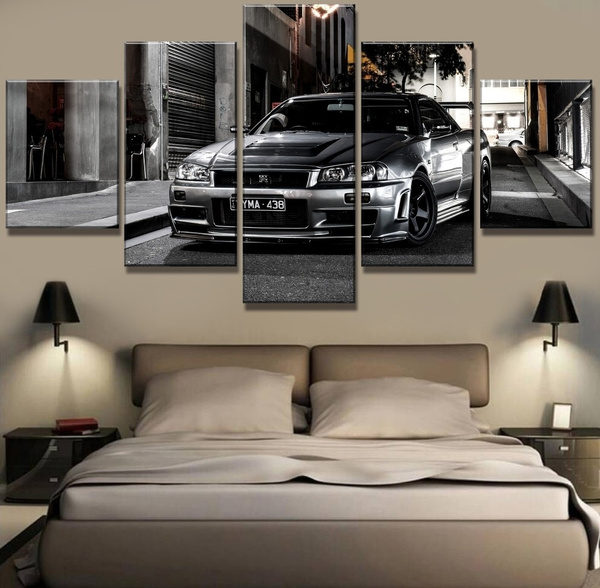 5 piece hd print nissan skyline gtr car poster modern decorative paintings on canvas wall art picture for home decorations wall decor oil painting