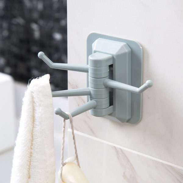 Rotating Bathroom Hooks Strong Adhesive Shower Hook Towel Holder Wall Hanger Rack Free Punching Bathroom Acessories 3pcs Wish