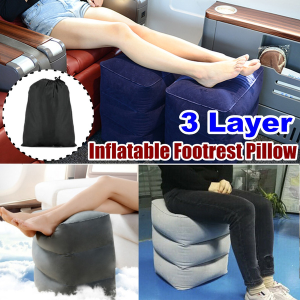 useful inflatable footrest pillow plane train kids bed foot rest portable foot rest cushion for travel wish