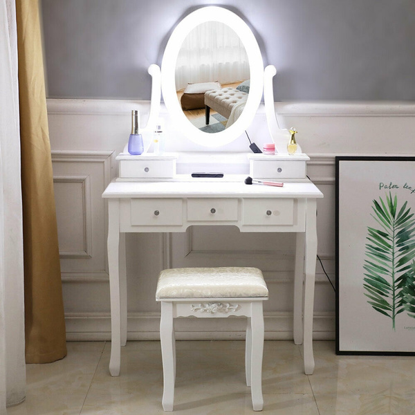 Il grande specchio riflette le immagini in modo chiaro senza distorsioni. Set Da Toeletta Per Trucco Con Specchio A 10 Luci E Scrivania Da Toeletta A 5 Cassetti Bianco Wish