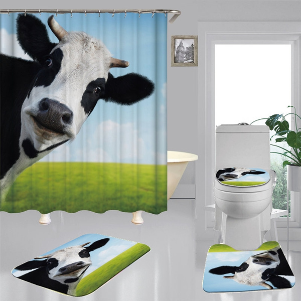 funny ranch cow hd print shower curtain non slip bath mat toilet lid cover pedestal rug bathroom decoration set wish