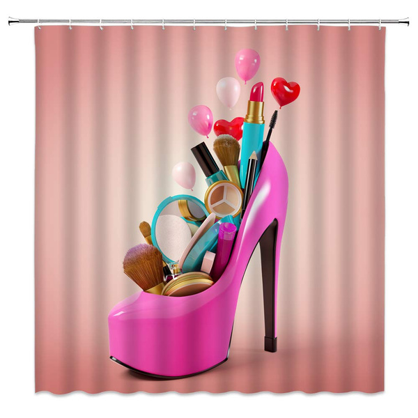 high heels shower curtain pink high heels cosmetics and makeup tools sexy woman bathroom decor bath curtains with hooks 70 x 70 inches wish