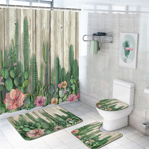 4 pcs cactus shower curtain set with non slip rug toilet lid cover bath mat and 12 hooks tropical succulent cacti on wooden board waterproof shower