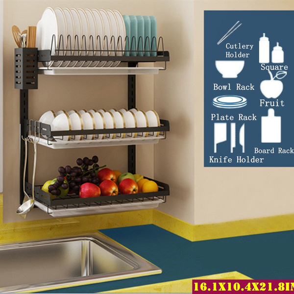 2 3 tier kitchen dish rack hanging drying plate organizer storage shelf over the sink wall mount dish drainer bowl holder stainless steel black
