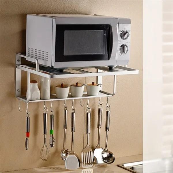 new hanging microwave oven stand storage rack shelf space saving kitchen bracket wish