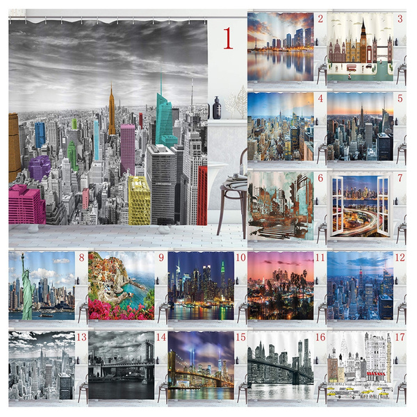 new york shower curtain nyc cityscape monochrome photograph with colorful buildings urban architecture bathroom decoration shower curtains 66 x72