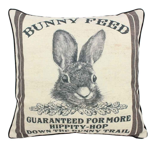 farmhouse bunny vintage easter retro primitive old feed sack cotton linen throw pillow covers rabbit hare cushion cover shams 16 square french