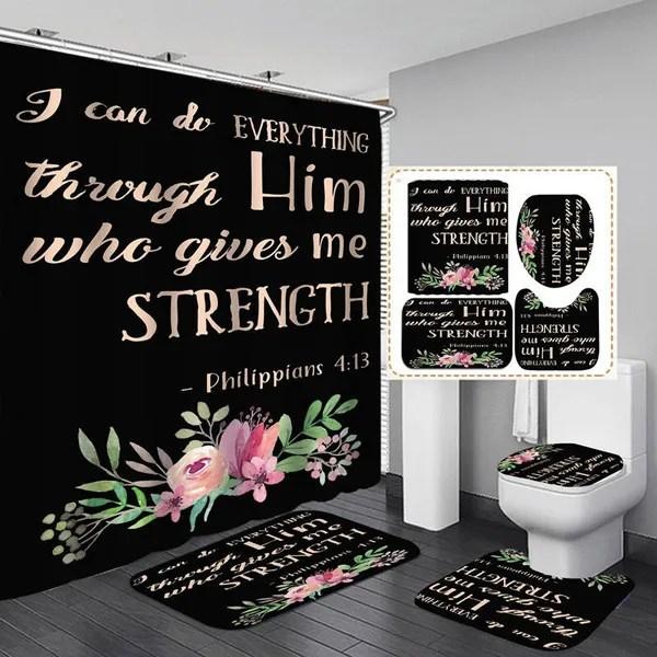 philippians 4 13 black shower curtain bath mat toilet lid cover pedestal rug bathroom decoration set wish