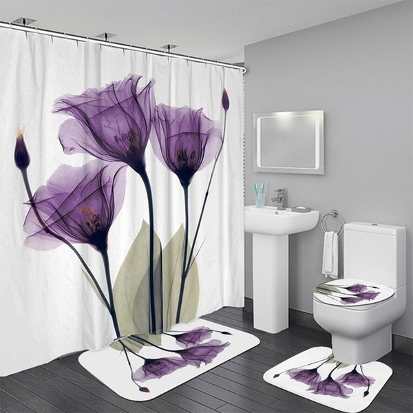 home decor flower tulips lavender shower curtain bathroom rug set bathroom curtain waterproof polyester fabric bathroom shower curtains with hooks