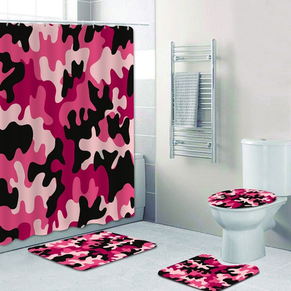 red camouflage militory fan 4pcs shower curtain set pink camo shower curtain for woman girly pattern bath curtains with hooks for bathroom mat toilet