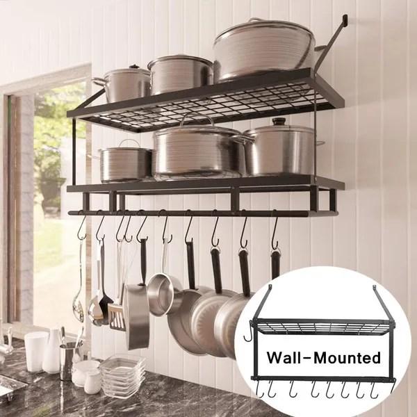 2 tier pot rack wall mounted pan shelf hanging racks 10 hooks included kitchen pot racks hanging storage organizer wish