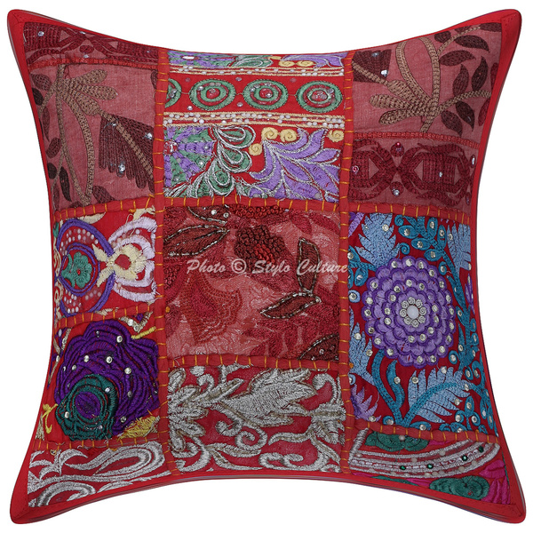 stylo culture decorative throw pillow cushion cover indian bohemian cotton red 12 x 12 inch retro pillowcases hand made sham vintage patchwork 30x30