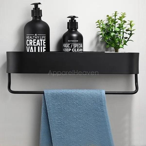 punch free bathroom shelf towel rack toilet storage rack sundries organizer shampoo holder wish