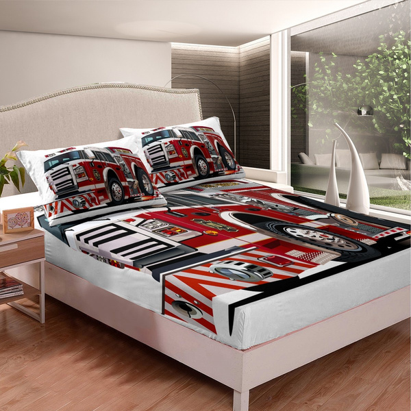 fire fighting theme bedding set twin size fire truck fitted sheet set for boys kids child nursery vehicle car bed sheet set cool firemen gift