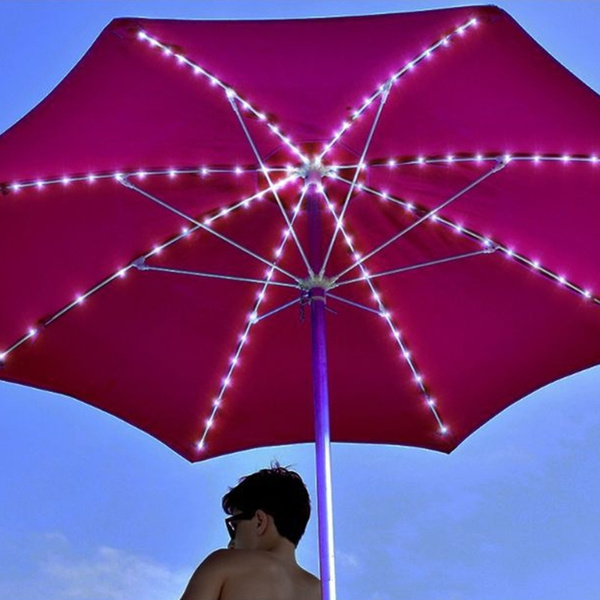 patio umbrella lights cordless parasol string lights with remote control 8 mode 104 led umbrella pole light battery operated waterproof for 9ft 10ft