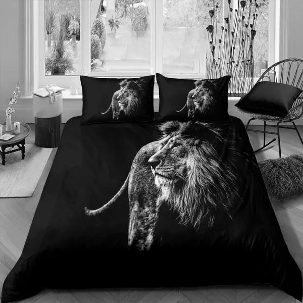 lion duvet cover sets black bedding set wildlife animal theme comforter cover sets the african lion king print bed cover for kids boy men 1 duvet