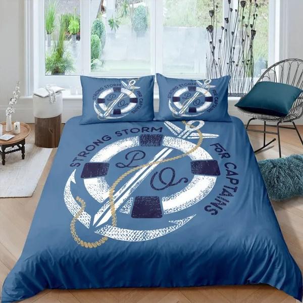 nautical theme bedding set sea nacy blue anchor bedding cover set for teens boys kids child anchor sailship duvet cover sets cartoon ocean explor