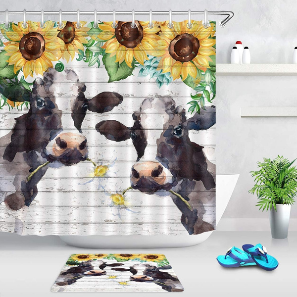 watercolor farm cow shower curtain farmhouse animal cattle with daisy yellow sunflower shower curtain funny kids bathroom decor polyester fabric with