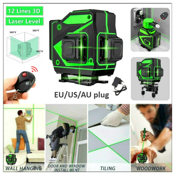 12 lines 3d green laser level self leveling laser level 360 degree cross line laser level for construction picture hanging wall writing painting home
