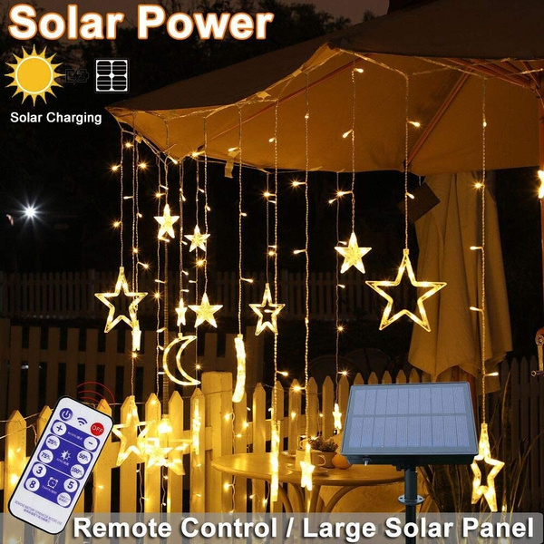 star solar lights outdoor solar powered curtain lights solar led string lights twinkle star moon fairy lights for outdoor garden patio landscape home