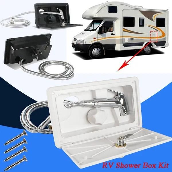 1 set rv shower box kit boat marine camper shower hose motorhome caravan accessories with lock external includes shower faucet wish
