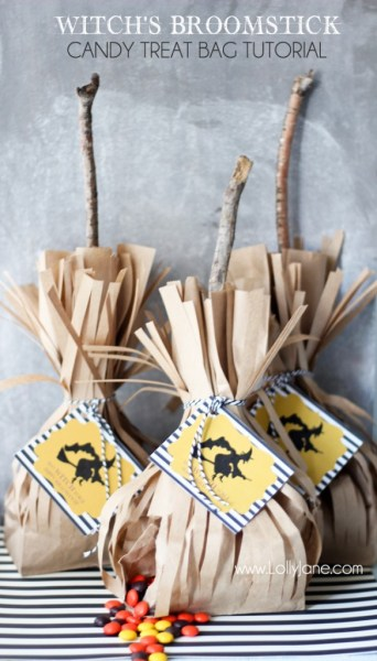 Witch's broomstick treat bags  -lollyjane.com