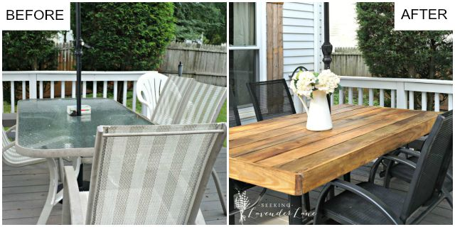 PATIO TABLE BEFORE:AFTER