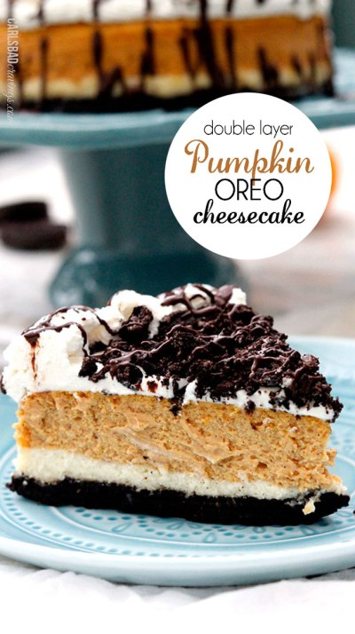 Pumpkin Oreo Cheesecake from {Carlsbad Cravings)